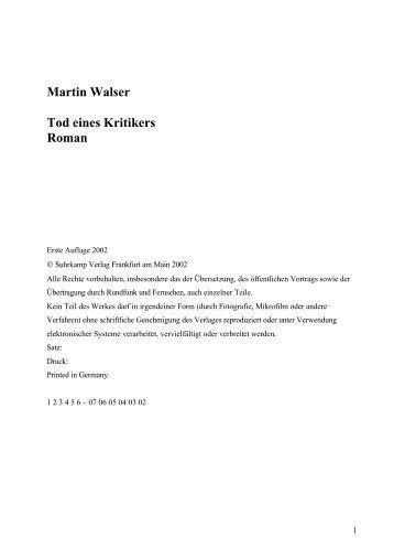 Martin Walser Tod eines Kritikers Roman