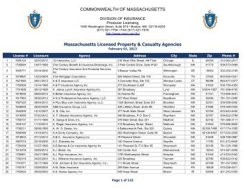 Massachusetts Licensed Property & Casualty Agencies ... - Mass.Gov