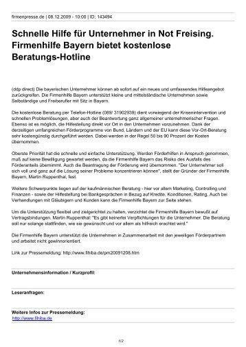 Schnelle Hilfe für Unternehmer in Not Freising. Firmenhilfe Bayern ...