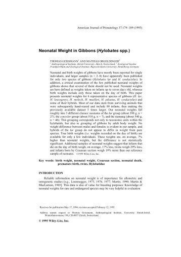 Husbandry Manual for the Javan Gibbon (Hylobates