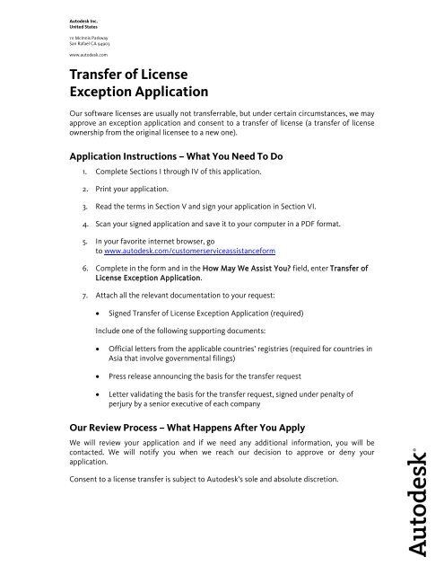 Transfer of License Exception Application - CAD PARTNER GmbH