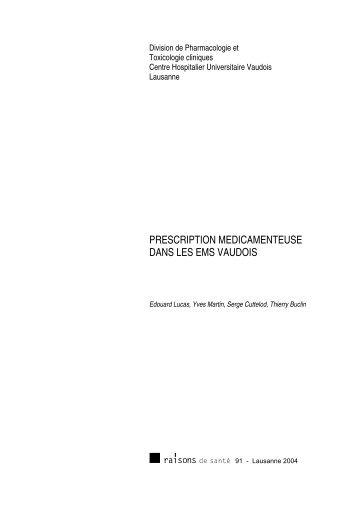 prescription medicamenteuse dans les ems vaudois - IUMSP
