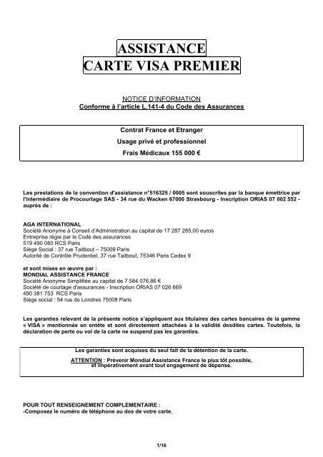 assistance carte visa premier ASSISTANCE CARTE VISA PREMIER