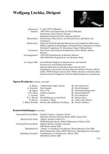 Lischke Wolfgang CV tabellarisch - Wolfgang Lischke, Dirigent