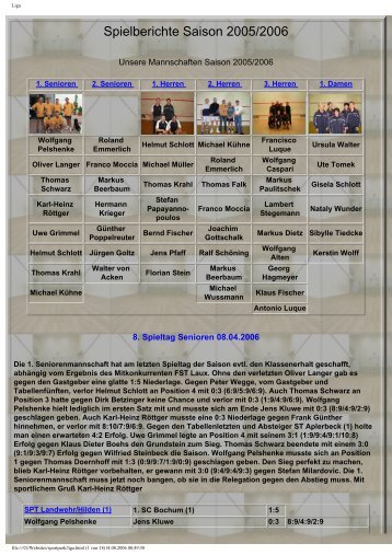 Spielberichte Saison 2005/2006 - sportpark-team.de