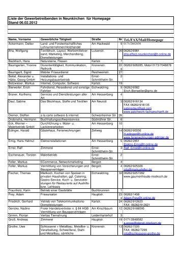 Gewerbeliste Stand 06 02 2012 - Neunkirchen