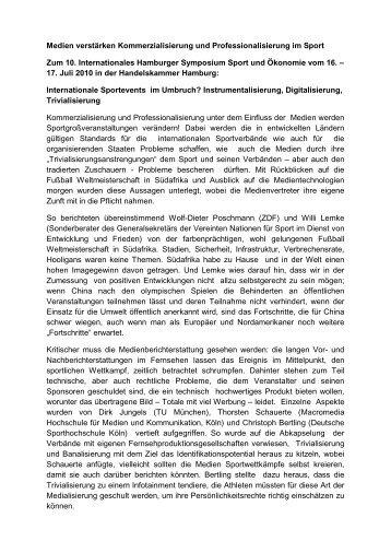 Medien verstärken Kommerzialisierung und Professionalisierung im ...