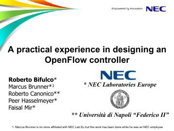 A practical experience in designing an OpenFlow controller