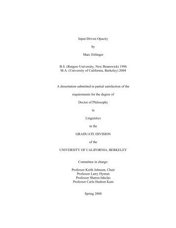 Input-Driven Opacity by Marc Ettlinger BS - Linguistics - University of ...