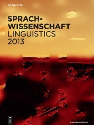 Sprach- wiSSenSchaft LINGUISTICS 2013 ... - Walter de Gruyter