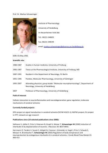 Prof. Dr. Markus Schwaninger Institute of ... - CellNetworks