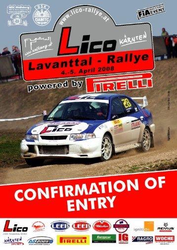 Nennbestätigung englisch - BP Ultimate Rallye