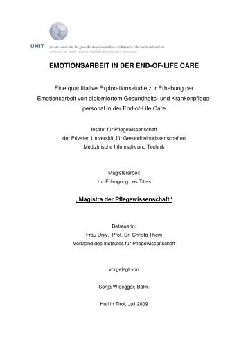 EMOTIONSARBEIT IN DER END-OF-LIFE CARE
