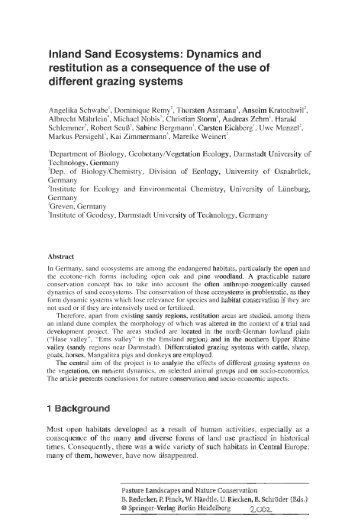 lnland Sand Ecosystems: Dynamics and restitution as a ...