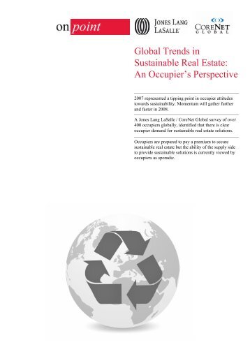 Global Trends in Sustainable Real Estate - Jones Lang LaSalle