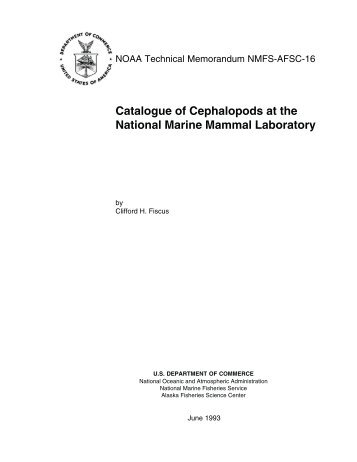 Catalogue of Cephalopods at the National Marine Mammal Laboratory
