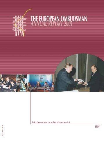 annual report 2001 the european ombudsman