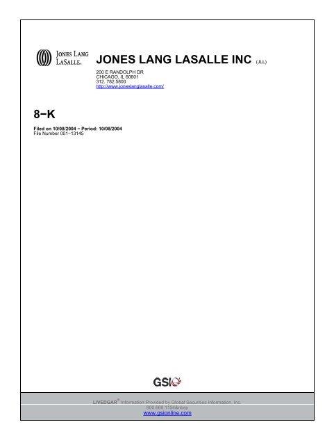 LIVEDGAR document for Gordon Repp - JONESL01 - Jones Lang ...