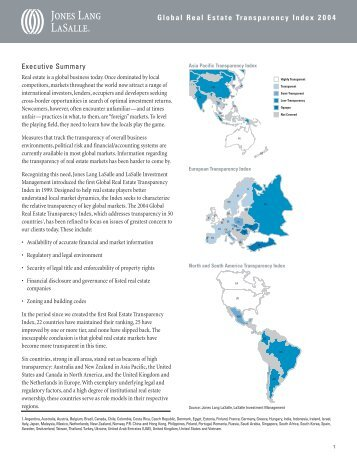 Global Real Estate Transparency Index 2004 - Jones Lang LaSalle
