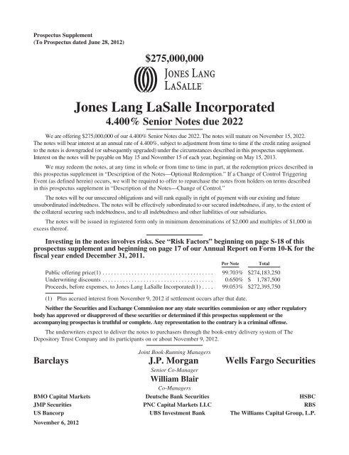 real estate investment banking jones lang lasalle