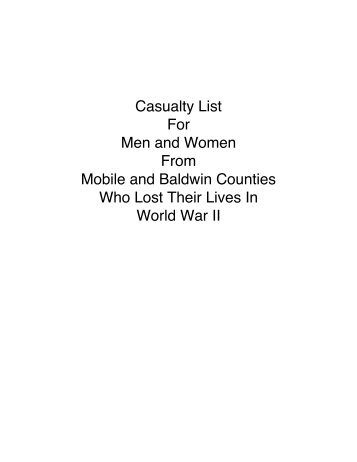 World War II Casualty List - Museum of Mobile
