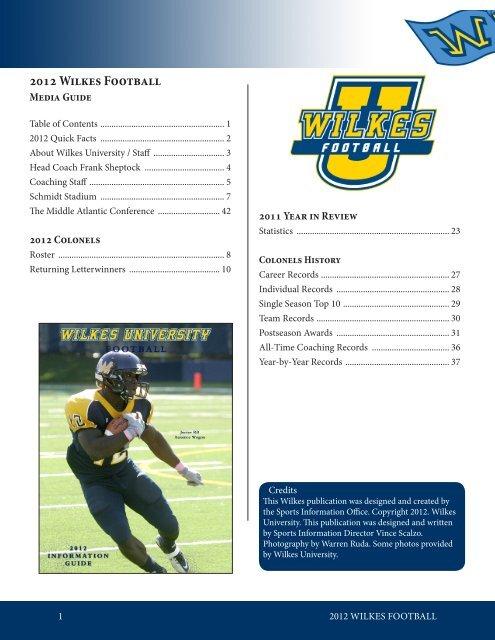 2012 Wilkes Football - Wilkes Athletics