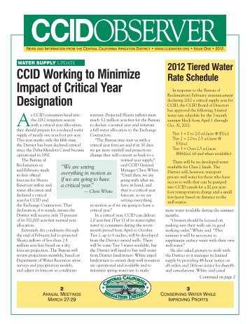 CCID Newsletter Issue 1 - Central California Irrigation District