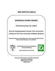 siri kertas kerja working paper series - Faculty of Economics ...