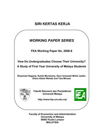 lund institute economic research working paper series Adbi working paper series malaysia and the global crisis: impact shankaran nambiar is a senior research fellow at the malaysian institute of economic research.