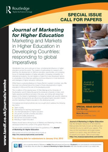 Journal of Marketing for Higher Education Marketing and Markets in ...