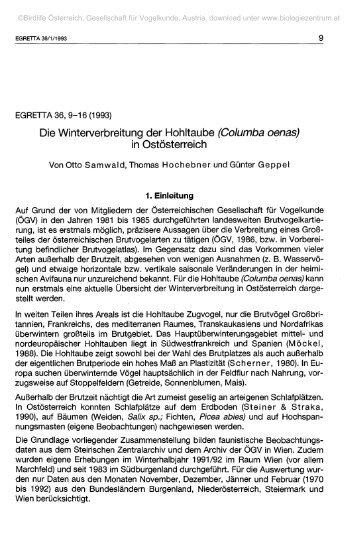 Die Winterverbreitung der Hohltaube (Columba oenas) in ...