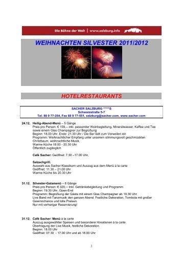 Silvestermenüs und Dinner in Salzburg