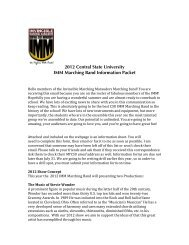 2012 Central State University IMM Marching Band Information Packet