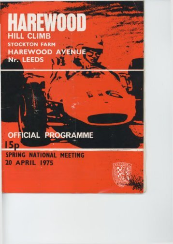 Programme 1975 20thApril Spring National - Harewood Hill History