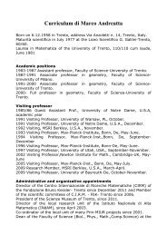 Curriculum di Marco Andreatta - Scienze Matematiche, Fisiche e ...