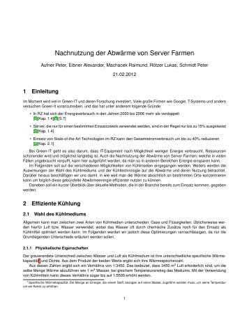 Abwärmenutzung - Distributed Systems Group