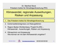 Klimastudie Baden-Württemberg (KLARA) und Extremereignisse