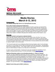 Media Stories March 6-12, 2012 - Charlotte-Mecklenburg Schools