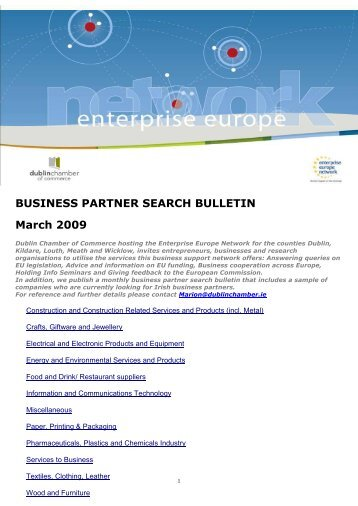 BUSINESS PARTNER SEARCH BULLETIN March 2009