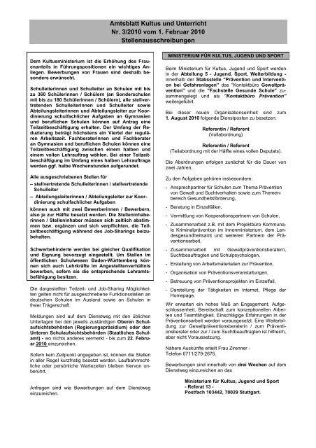 Amtsblatt Kultus und Unterricht Nr. 3/2010 vom 1. Februar 2010 ...