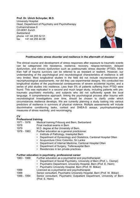 Prof  Dr  Ulrich Schnyder, M D  University Hospital Head