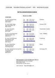 zürcher fachärztegesellschaft für rheumatologie mitgliederverzeichnis