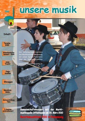 """Zeitung """"Unsere Musik 2010"""" - Musikverein Pennewang"""