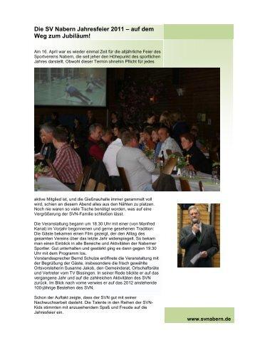 Die SV Nabern Jahresfeier 2011 – auf dem Weg zum Jubiläum!