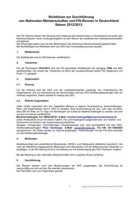 Richtlinien zur Durchführung von FIS-Rennen und Nationalen