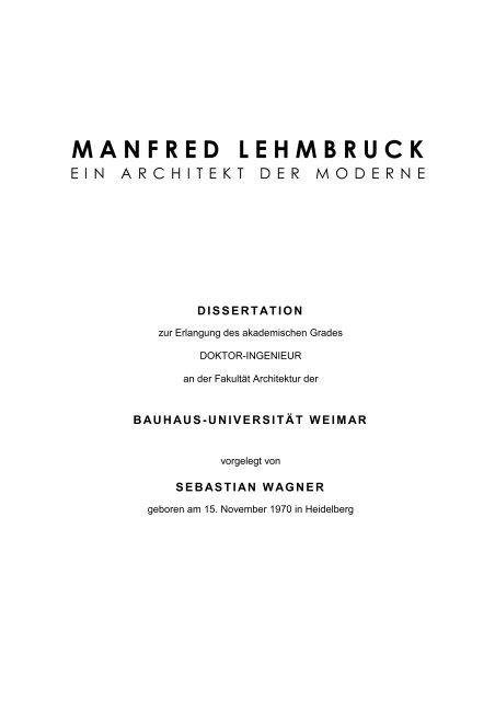 Manfred Lehmbruck Bauhaus Universität Weimar