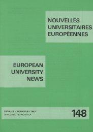 EUROPEAN UNIVERSITY NEWS 148 : FEBRUARY 1987 BI