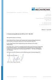 Mittwoch, 4. April 2012 6. Fachbereichstag Mechatronik 2012 am 10 ...
