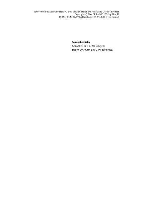 Frontmatter And Index In Femtochemistry