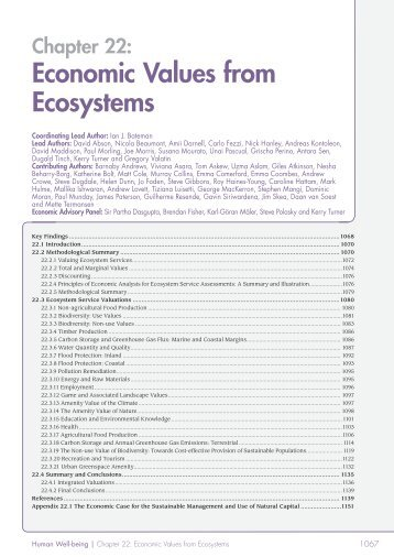 Chapter 22: Economic Values from Ecosystems - ipbes